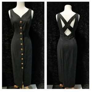 Vintage linen button up black dress cross back S
